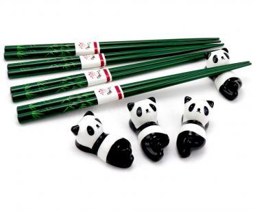 Essstäbchen mit Bank, 8-tlg. Bambus / Panda