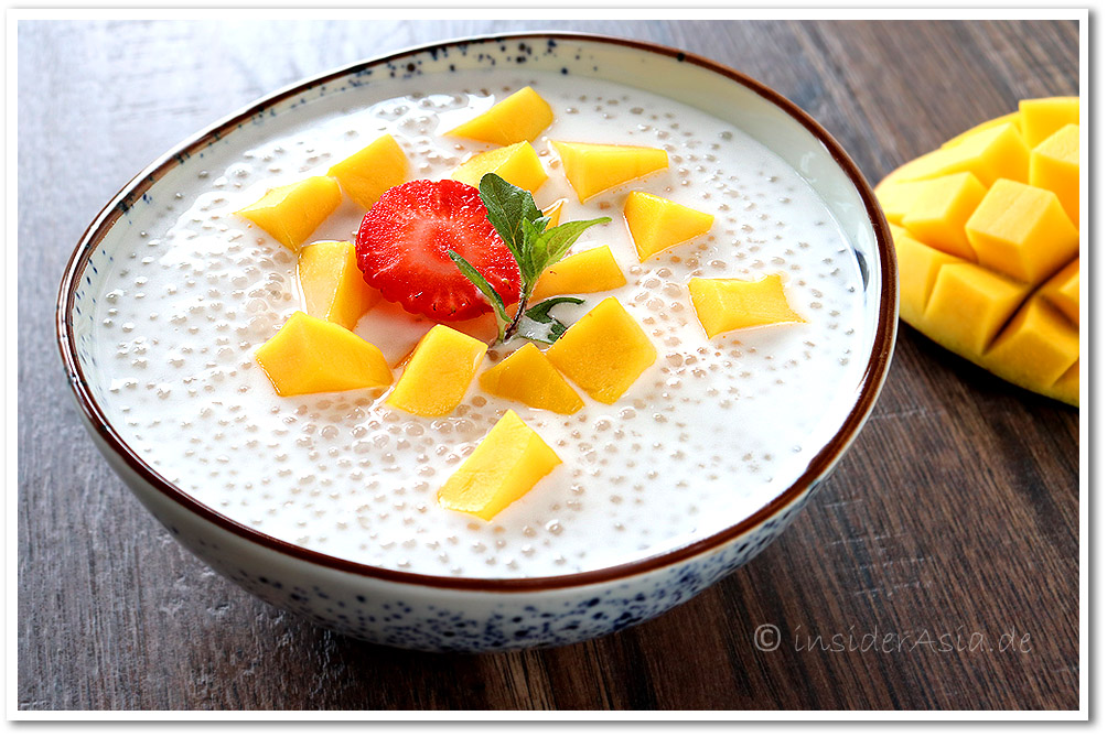 Tapiokaperlen mit Mango und Kokosmilch